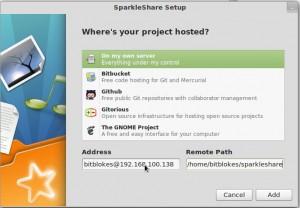 Sparkleshare 0.8.0 Projekt hinzufügen