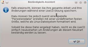 Salix OS 13.37 Live KDE Beständigkeits-Assistent