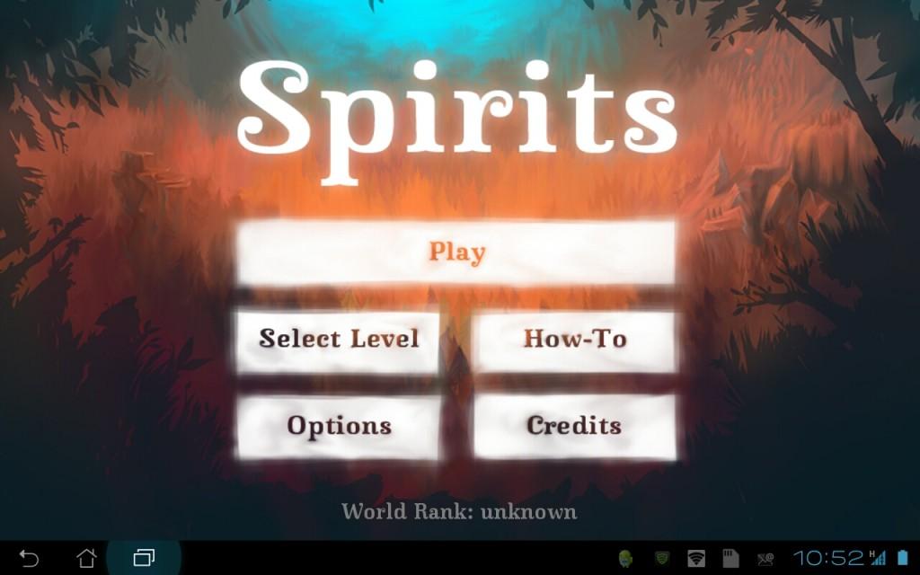 Spirits: Startbildschirm