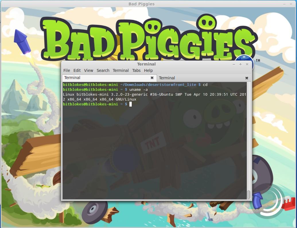 Bad Piggies unter Linux: Über den Startbildschirm will das SPiel aber nicht hinausgehen