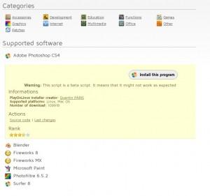 PlayOnLinux bietet ein Installations-Script für Adobe Photoshop CS4 an