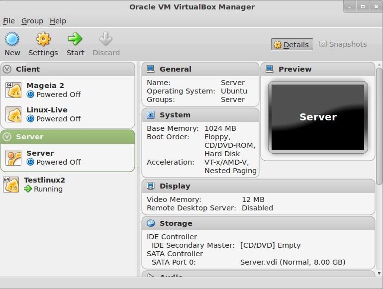 VirtualBox 4.2.0 Gruppen