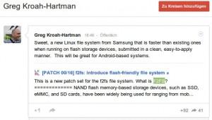 Greg Kroah-Hartman ist von Samsungs F2FS angetan