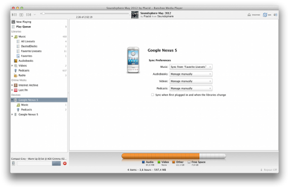 bashee 2.6 und USB-Massenspeicher unter Mac OS X (Quelle: banshee.fm)