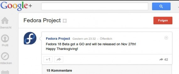 Fedora 18 Beta kommt am 27. November 2012