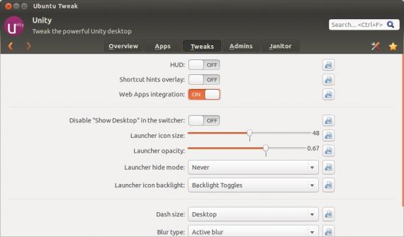Ubuntu Tweak: Web Apps deaktivieren (Quelle: blog.ubuntu-tweak.com)