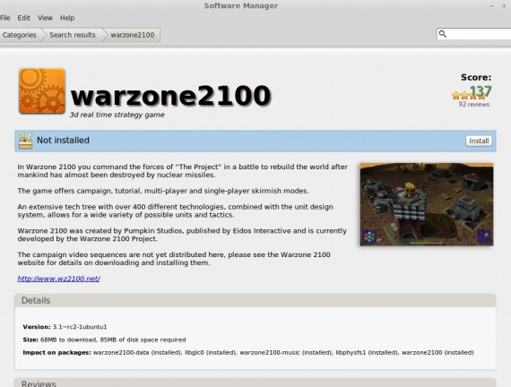 Warzone 2100 im Software-Manager