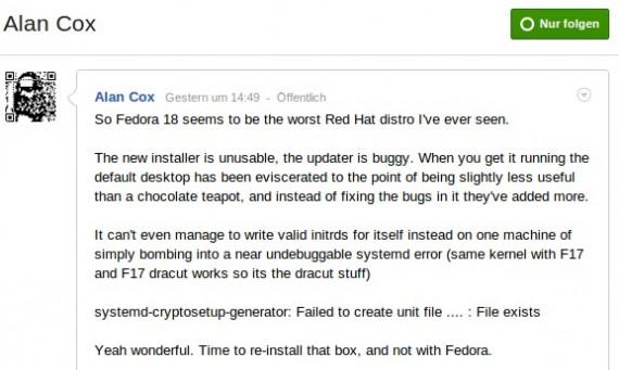 Fedora 18: Alan Cox is not amused ...