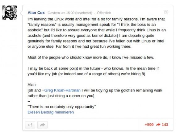 Alan Cox zieht sich vorerst zurück