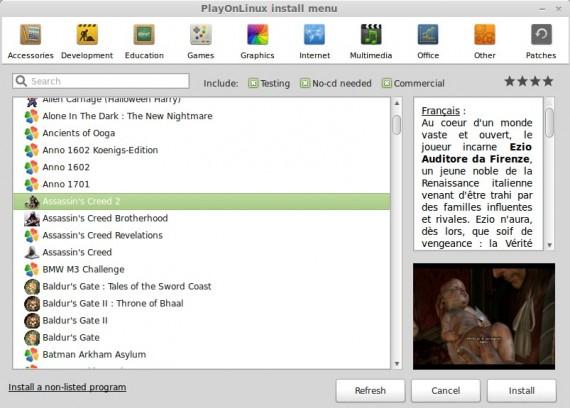 PlayOnLinux: Spiel-Sektion