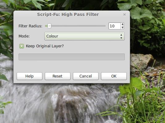 GIMP: Hochpass-Filter Standard-Einstellungen