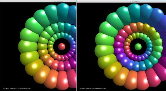 glxspheres mit und ohne optirun: : 175 zu 60 Frames pro Sekunde