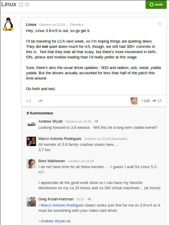 Ankündigung zu Linux-Kernel 3.5-rc5 auf Google Plus