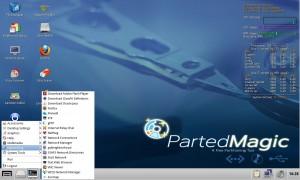 Parted Magic 2013_01_29: Mit neuer Menü-Schaltfläche