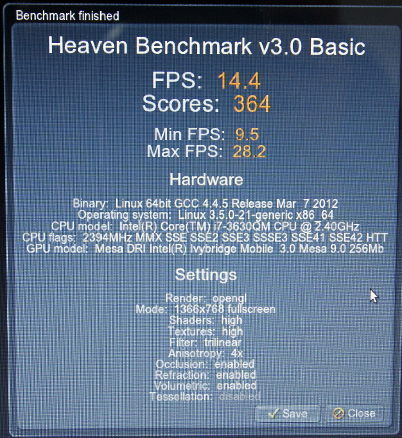 Unigine Heaven Benchmark: Intel