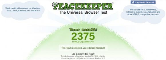 Futuremark Peacekeeper: Firefox 18 mit 2375 Punkten.