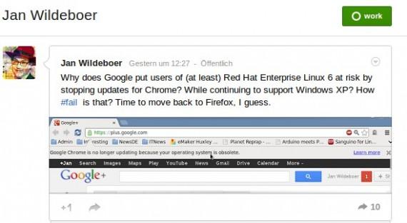 Jan Wildeboer: Keine Updates mehr für Chrome