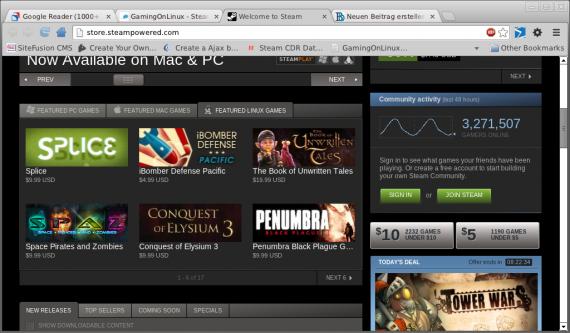 Steam: Featured Games für Linux