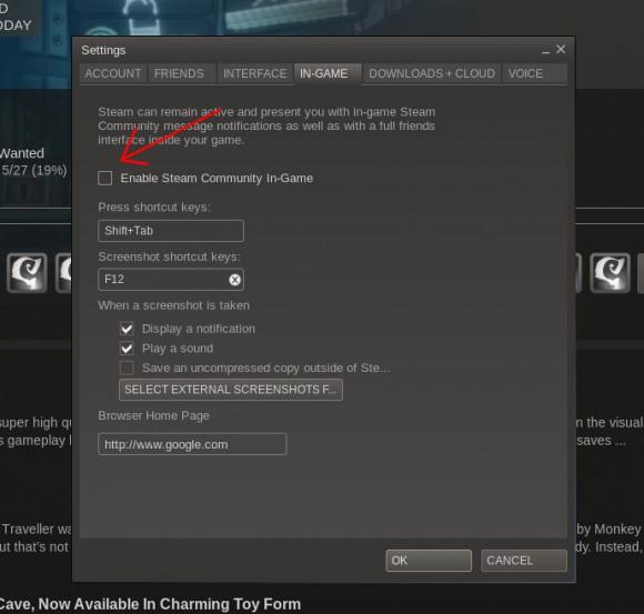 Ingame Steam Overlay deaktivieren funktioniert auch