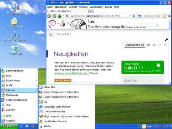 Tails 0.17 als Windows XP getarnt