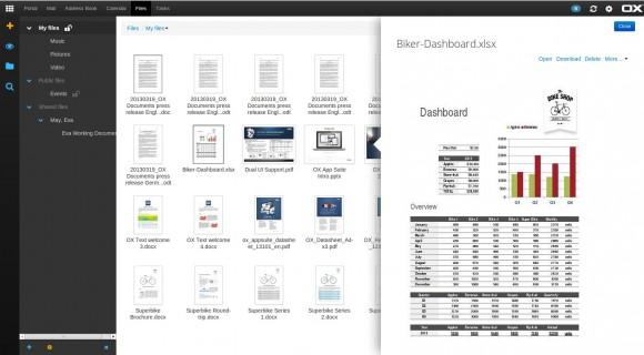 OX-Demo: Datei auswählen, Vorschau