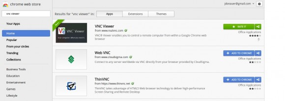 VNC Viewer von RealVNC im Chrome Web Store