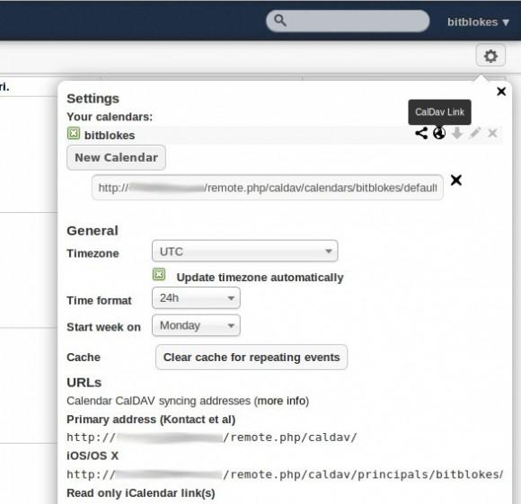 CalDAV Link in der ownCloud