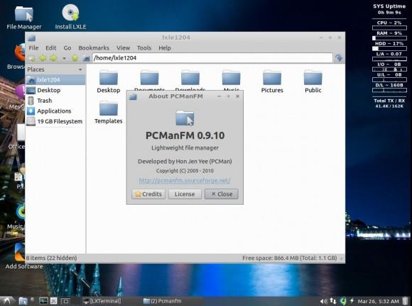 LXLE 12.04: PCmanFM