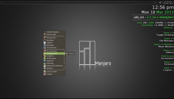 Manjaro Openbox-Lite 0.8.4: Menü