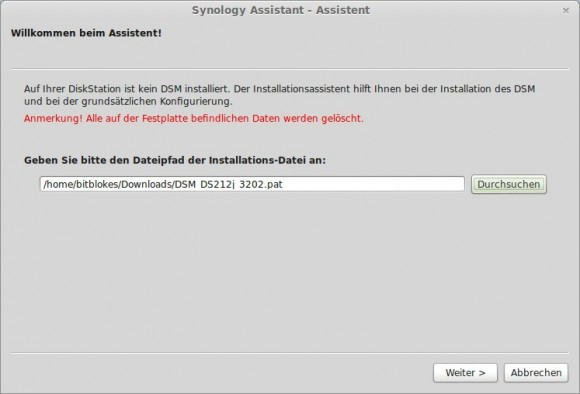 DSM installieren: Version aussuchen