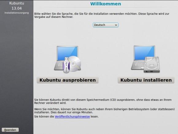 Kubuntu installieren: Startbildschirm