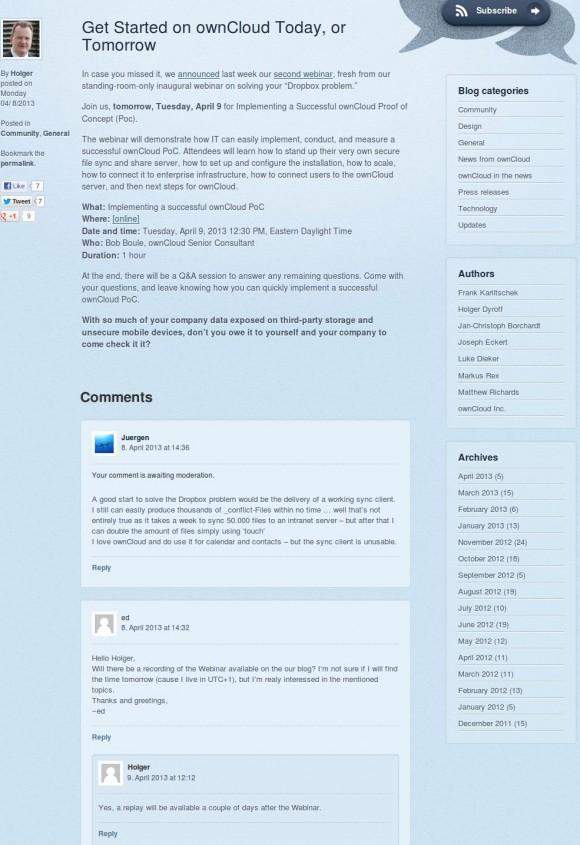 ownCloud: Kritik unerwünscht!