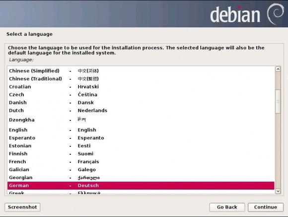 Debian 7 Wheezy: Sprachwahl