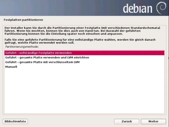 Debian 7 Wheezy: Festplatten-Belegung