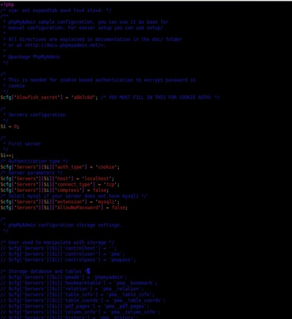 phpMyAdmin 4: config.sample.inc.php