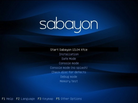 Sabayon 13.04 Xfce: Bootscreen