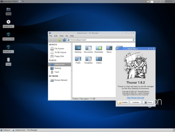Sabayon 13.04 Xfce: Dateimanager Thunar