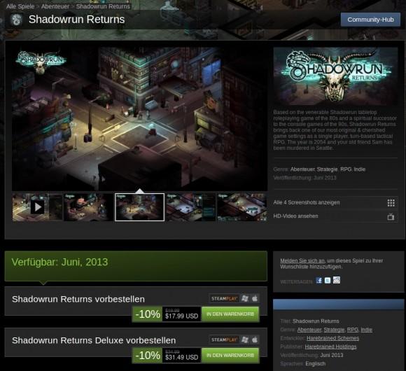 Shadowrun Returns: derzeit mit 10 Prozent Rabatt