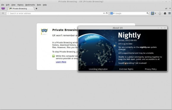 Firefox Nightly UX: Linux Mint 14