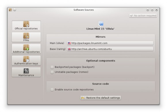 Linux Mint 15 KDE: MintSources (Quelle: linuxmint.com)