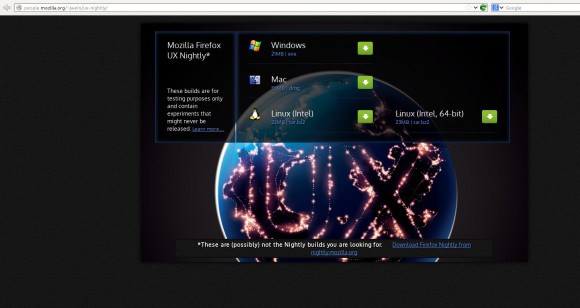 Mozilla NIghtly UX