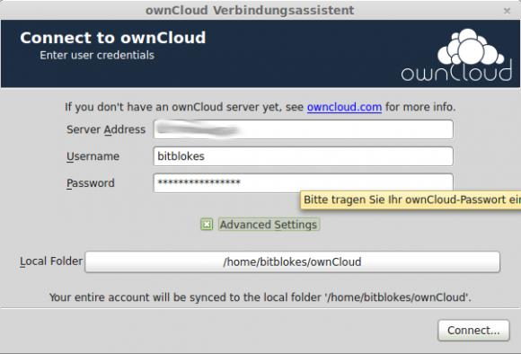 ownCloud-Desktop-Client: Einrichtungs-Assistent