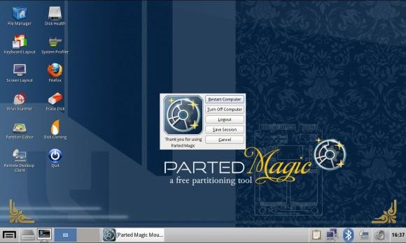 Parted Magic 2013_06_14: Ausschalten / Beenden