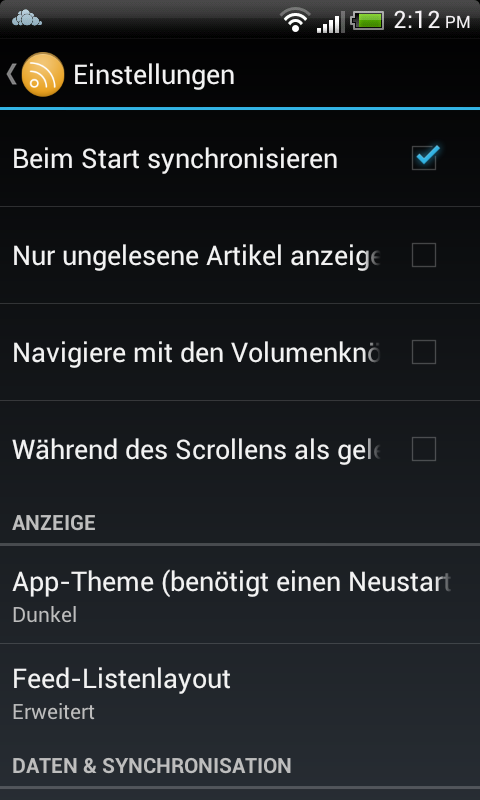 ownCloud: Android App für den News Feed
