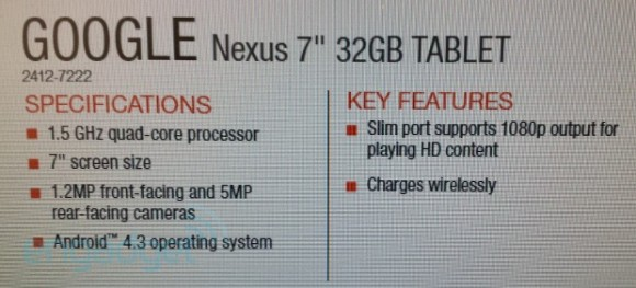 "Nexus 2 7"" - Produktinformationen (Quelle: engadget.com)"