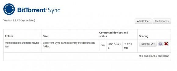 BitTorrent Sync: Mit HTC Desire S verbunden