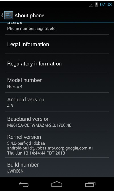 Android 4.3 mit Linux-Kernel 3.4 (Quelle: modaco.com)