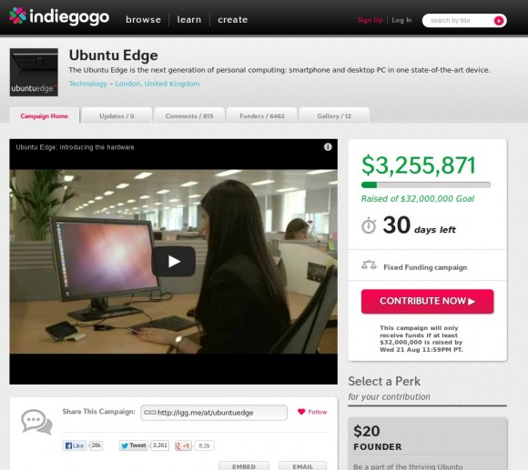 Ubuntu Edge bereits bei 3,2 Millionen