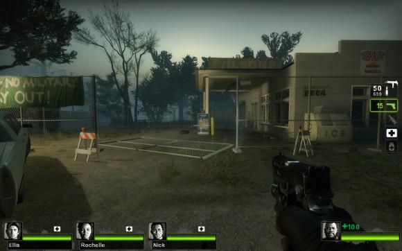 Left 4 Dead 2: Eine verlassene Tankstelle im Sumpf