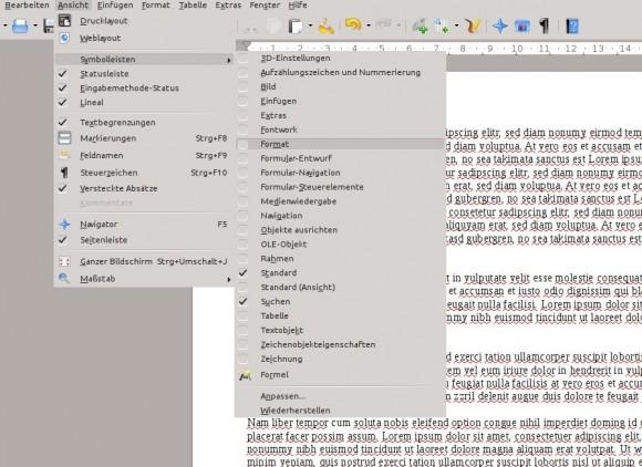 LibreOffice 4.1: Nach Aktivierung der Seitenleiste Format ausblenden
